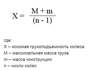 Формула расчета нагрузки на колесо